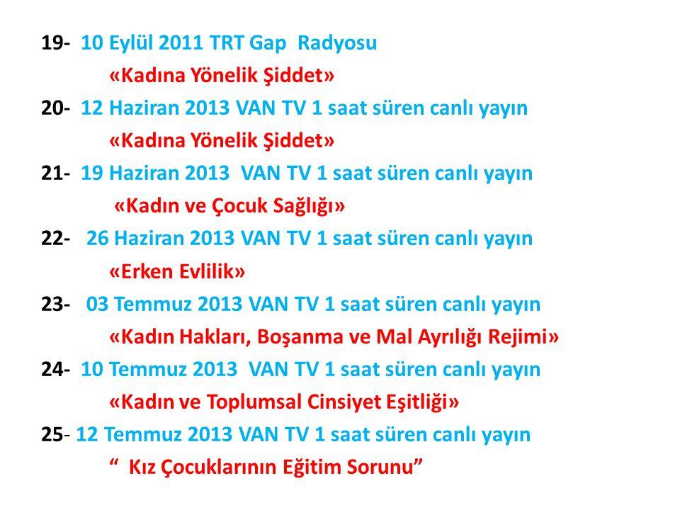 19- 10 Eylül 2011 TRT Gap Radyosu «Kadına Yönelik Şiddet»