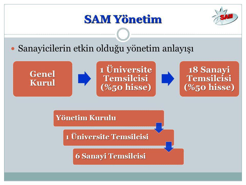 1 Üniversite Temsilcisi (%50 hisse) 18 Sanayi Temsilcisi (%50 hisse)