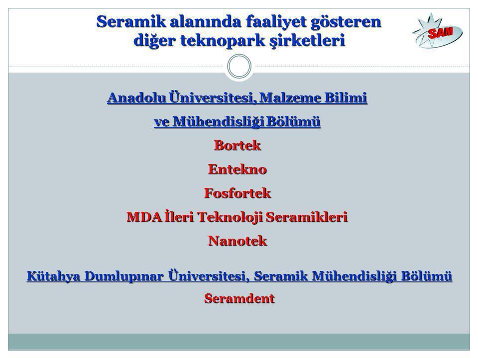 Seramik alanında faaliyet gösteren diğer teknopark şirketleri