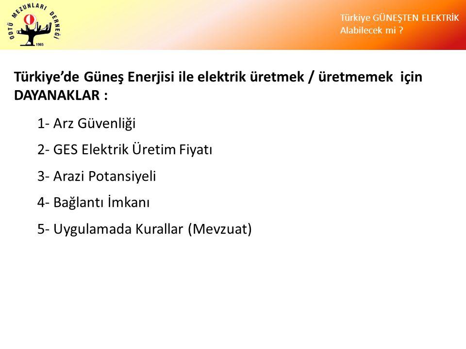 Türkiye'de Güneş Enerjisi ile elektrik üretmek / üretmemek için DAYANAKLAR :