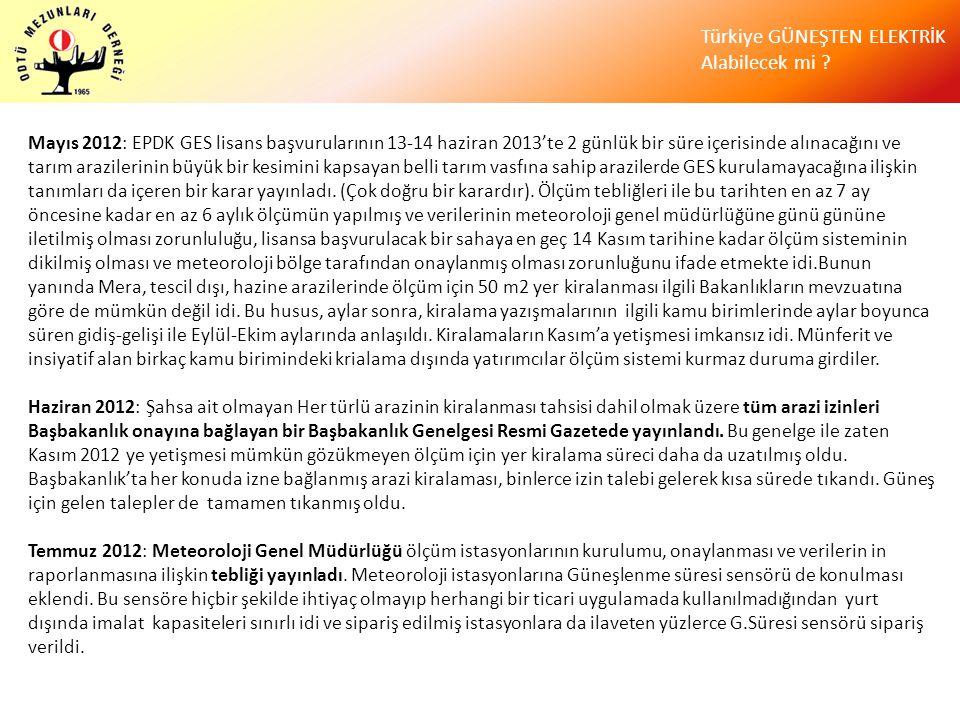 Mayıs 2012: EPDK GES lisans başvurularının 13-14 haziran 2013'te 2 günlük bir süre içerisinde alınacağını ve tarım arazilerinin büyük bir kesimini kapsayan belli tarım vasfına sahip arazilerde GES kurulamayacağına ilişkin tanımları da içeren bir karar yayınladı. (Çok doğru bir karardır). Ölçüm tebliğleri ile bu tarihten en az 7 ay öncesine kadar en az 6 aylık ölçümün yapılmış ve verilerinin meteoroloji genel müdürlüğüne günü gününe iletilmiş olması zorunluluğu, lisansa başvurulacak bir sahaya en geç 14 Kasım tarihine kadar ölçüm sisteminin dikilmiş olması ve meteoroloji bölge tarafından onaylanmış olması zorunluğunu ifade etmekte idi.Bunun yanında Mera, tescil dışı, hazine arazilerinde ölçüm için 50 m2 yer kiralanması ilgili Bakanlıkların mevzuatına göre de mümkün değil idi. Bu husus, aylar sonra, kiralama yazışmalarının ilgili kamu birimlerinde aylar boyunca süren gidiş-gelişi ile Eylül-Ekim aylarında anlaşıldı. Kiralamaların Kasım'a yetişmesi imkansız idi. Münferit ve insiyatif alan birkaç kamu birimindeki krialama dışında yatırımcılar ölçüm sistemi kurmaz duruma girdiler.