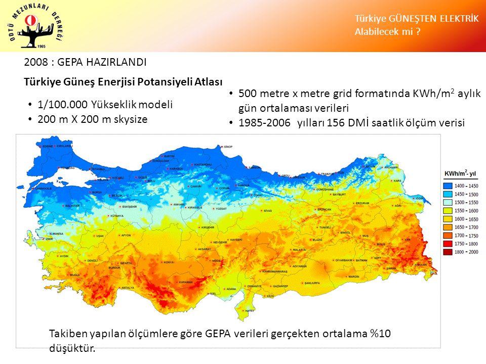 2008 : GEPA HAZIRLANDI Türkiye Güneş Enerjisi Potansiyeli Atlası. 500 metre x metre grid formatında KWh/m2 aylık gün ortalaması verileri.