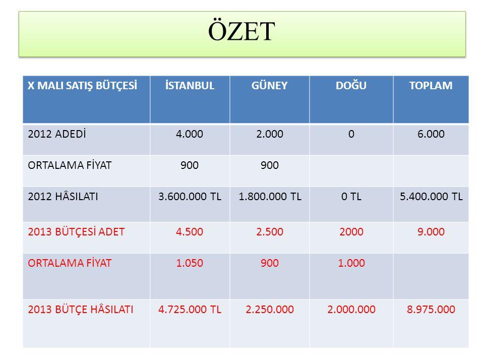ÖZET X MALI SATIŞ BÜTÇESİ İSTANBUL GÜNEY DOĞU TOPLAM 2012 ADEDİ 4.000