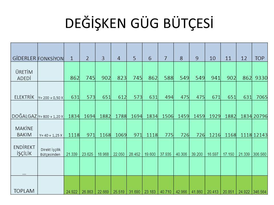 DEĞİŞKEN GÜG BÜTÇESİ GİDERLER 1 2 3 4 5 6 7 8 9 10 11 12 TOP 862 745