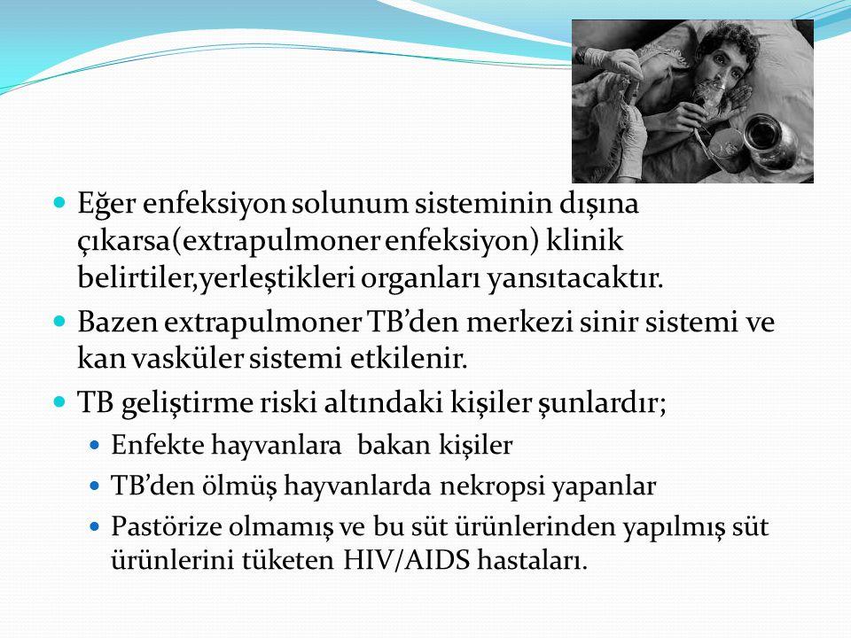 TB geliştirme riski altındaki kişiler şunlardır;