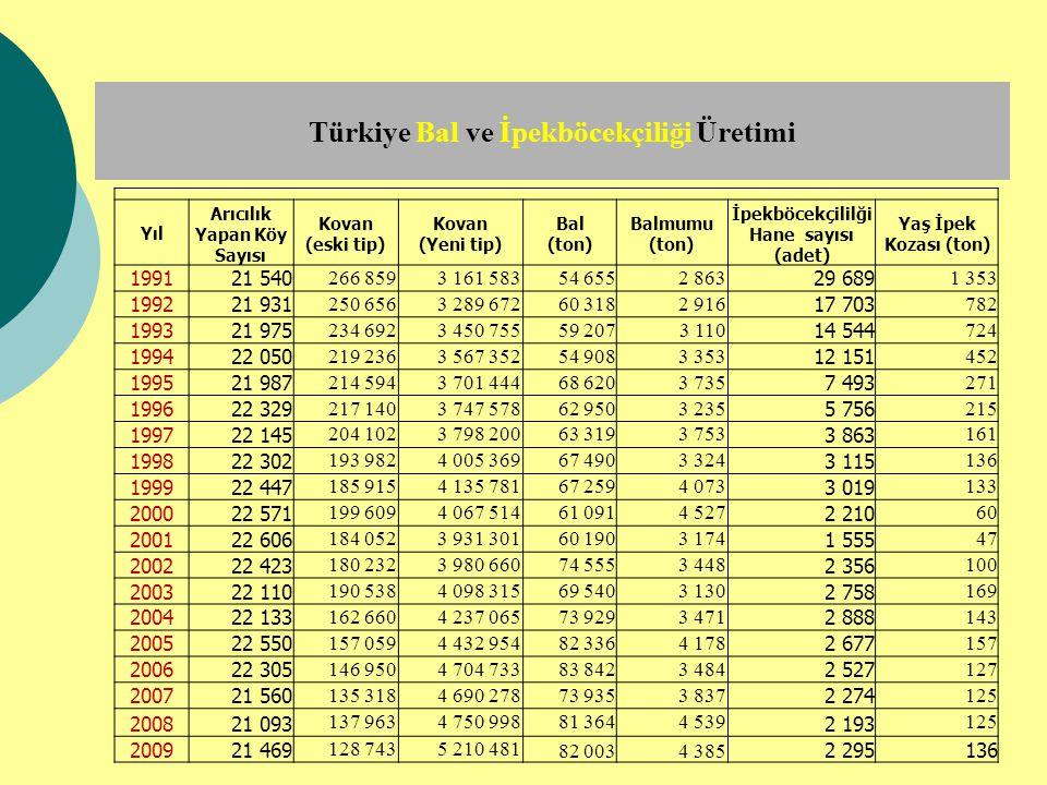Türkiye Bal ve İpekböcekçiliği Üretimi