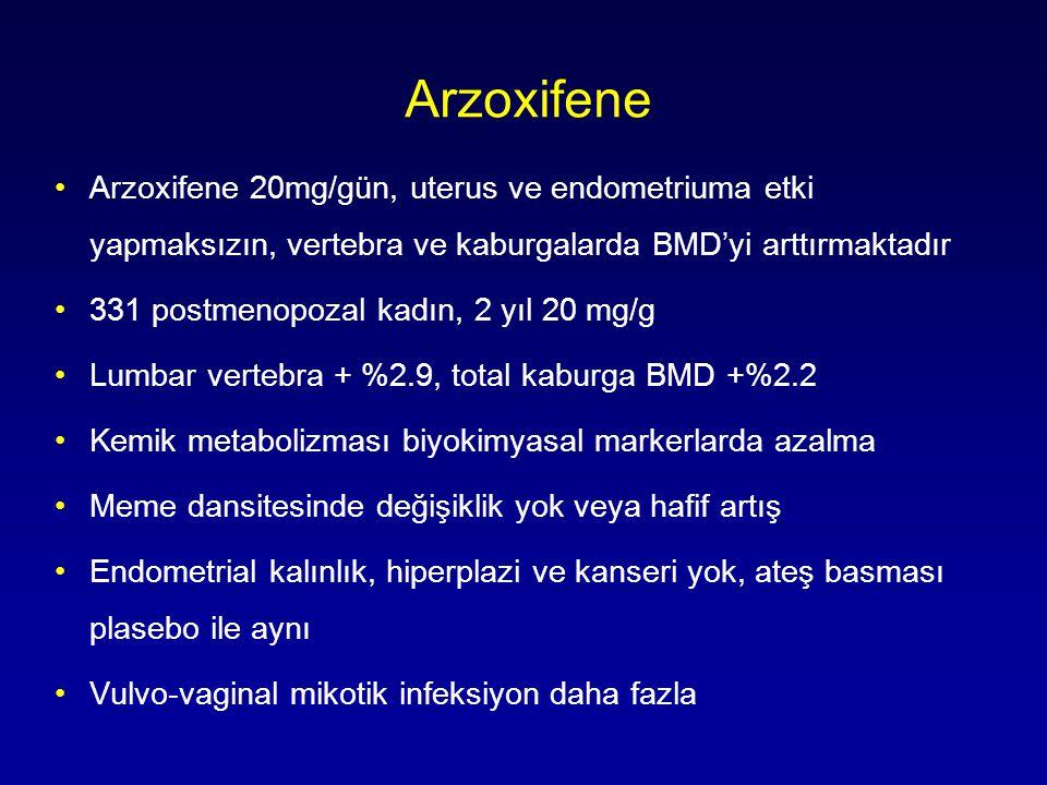 Arzoxifene Arzoxifene 20mg/gün, uterus ve endometriuma etki yapmaksızın, vertebra ve kaburgalarda BMD'yi arttırmaktadır.