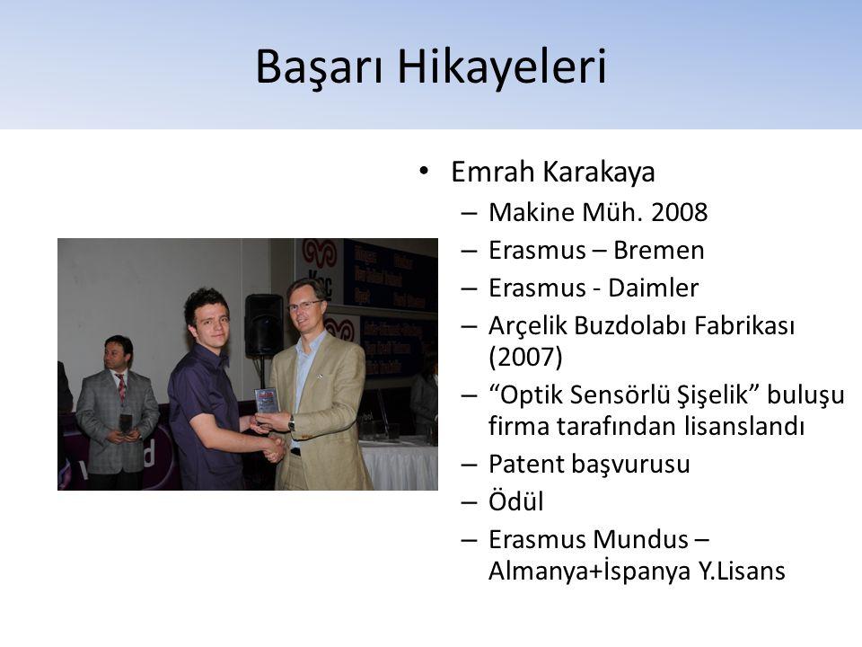 Başarı Hikayeleri Emrah Karakaya Makine Müh. 2008 Erasmus – Bremen