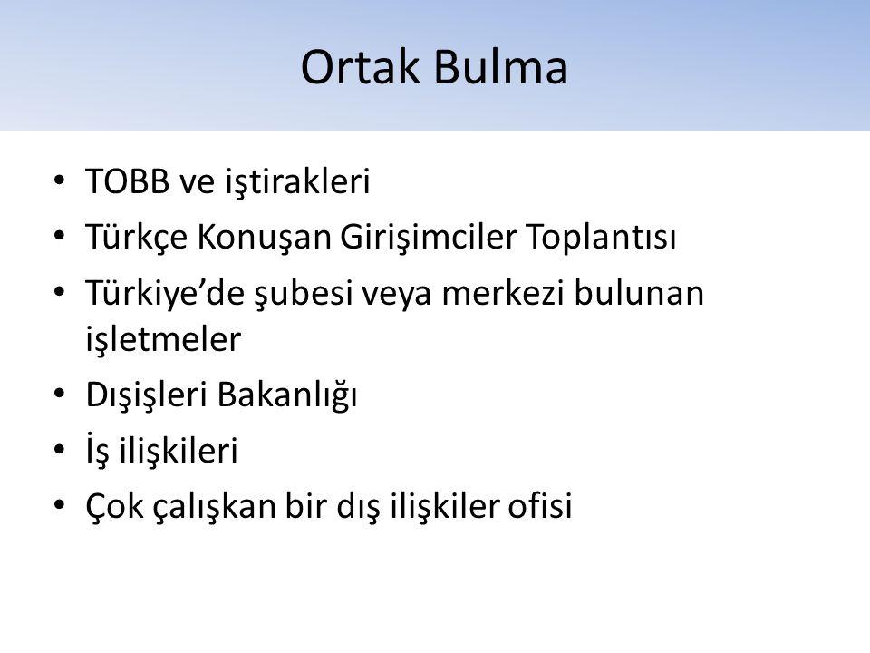 Ortak Bulma TOBB ve iştirakleri Türkçe Konuşan Girişimciler Toplantısı