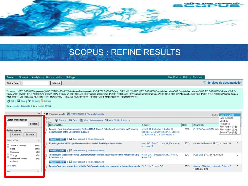 SCOPUS : REFINE RESULTS
