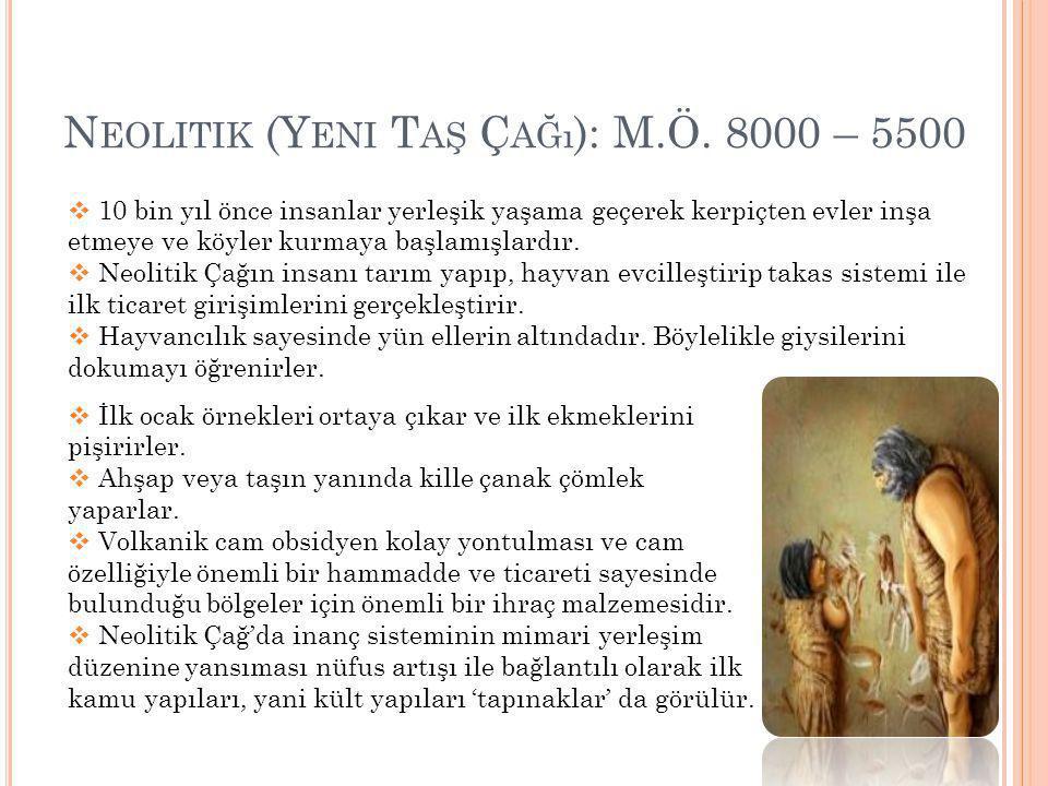Neolitik (Yeni Taş Çağı): M.Ö. 8000 – 5500