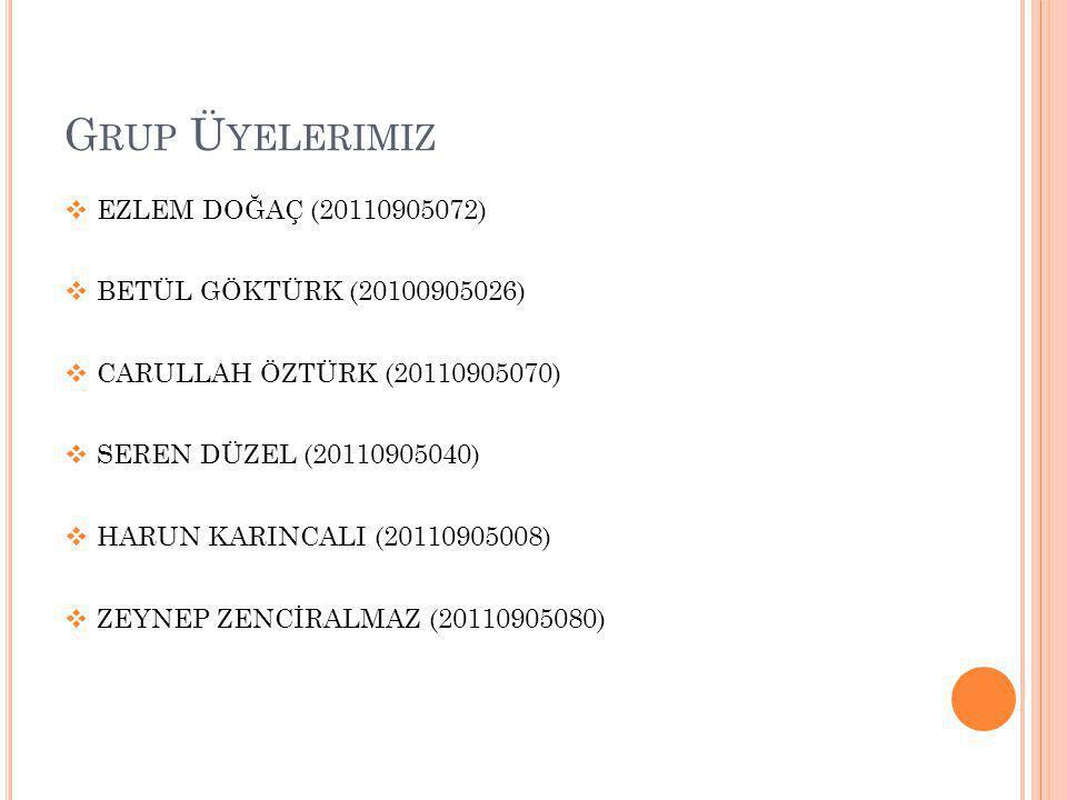 Grup Üyelerimiz EZLEM DOĞAÇ (20110905072) BETÜL GÖKTÜRK (20100905026)
