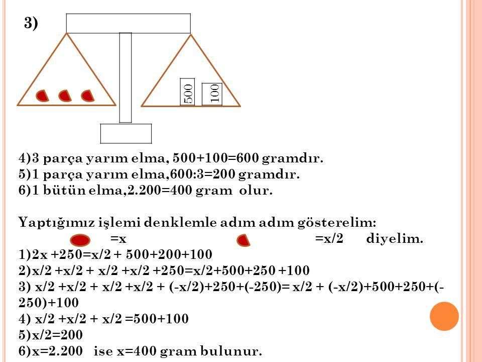 3) 4)3 parça yarım elma, 500+100=600 gramdır.