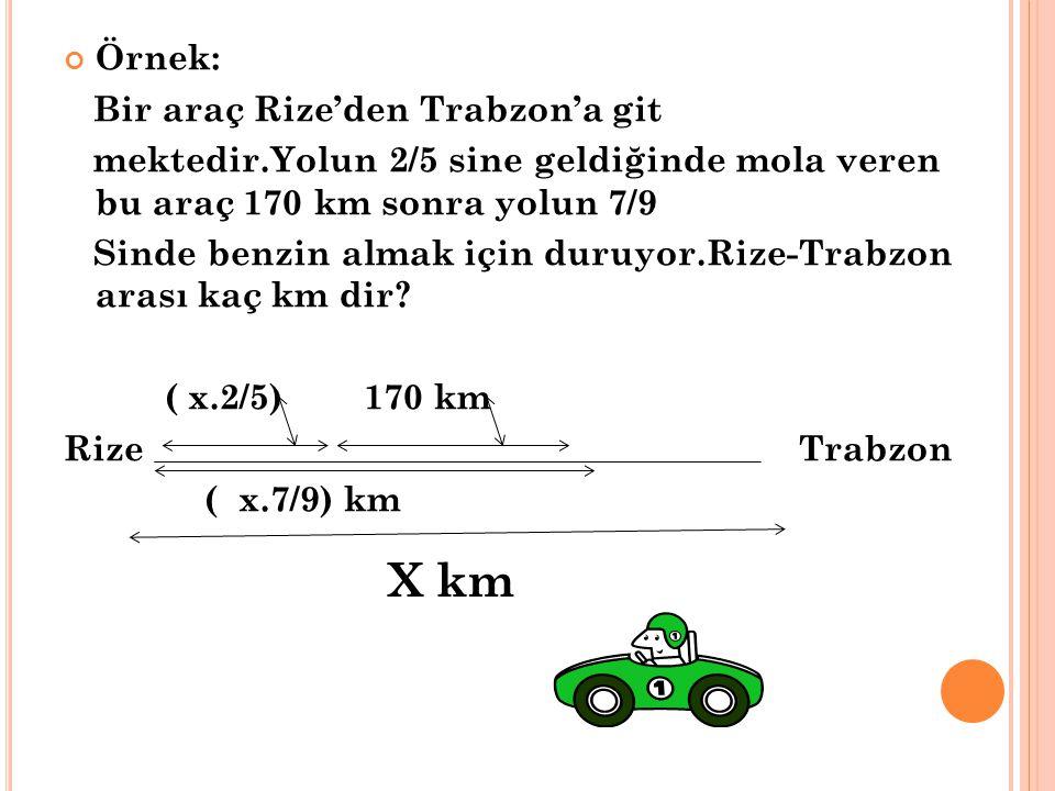X km Örnek: Bir araç Rize'den Trabzon'a git