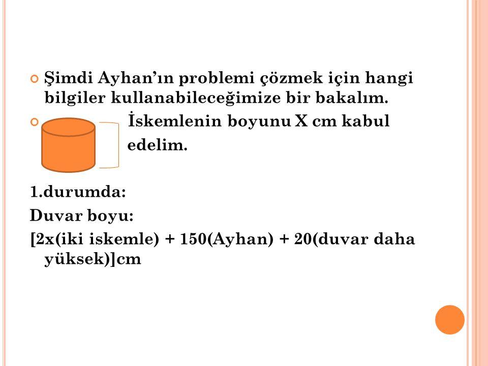 Şimdi Ayhan'ın problemi çözmek için hangi bilgiler kullanabileceğimize bir bakalım.