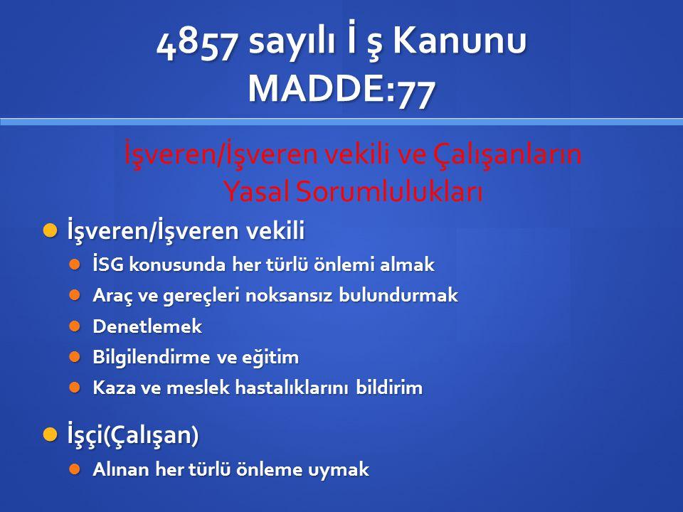 4857 sayılı İ ş Kanunu MADDE:77