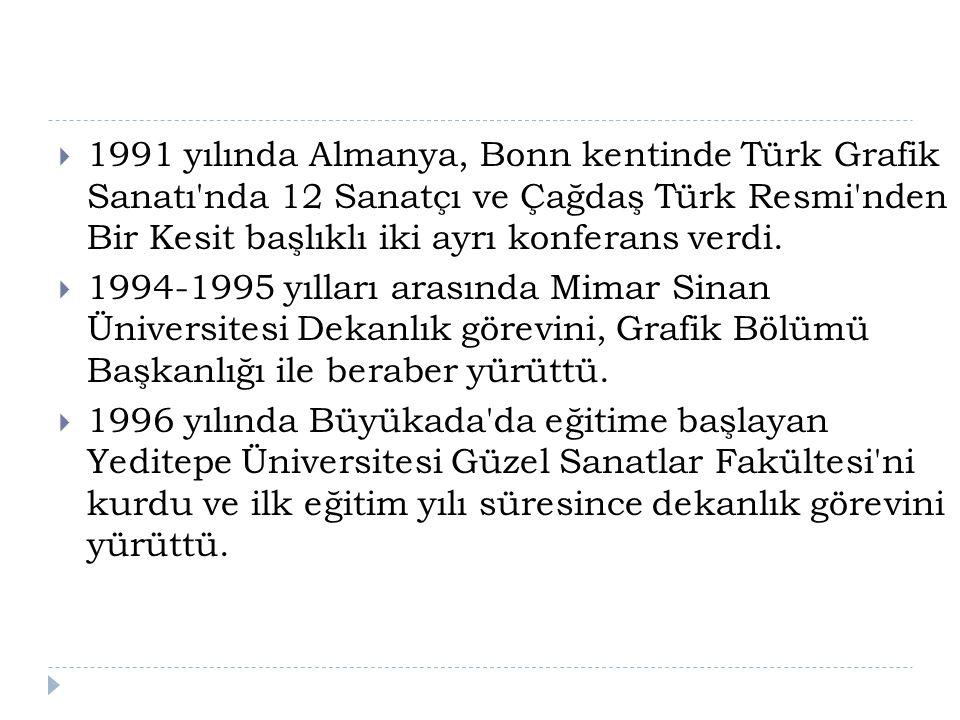 1991 yılında Almanya, Bonn kentinde Türk Grafik Sanatı nda 12 Sanatçı ve Çağdaş Türk Resmi nden Bir Kesit başlıklı iki ayrı konferans verdi.
