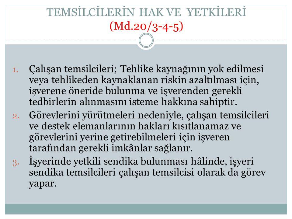 TEMSİLCİLERİN HAK VE YETKİLERİ (Md.20/3-4-5)