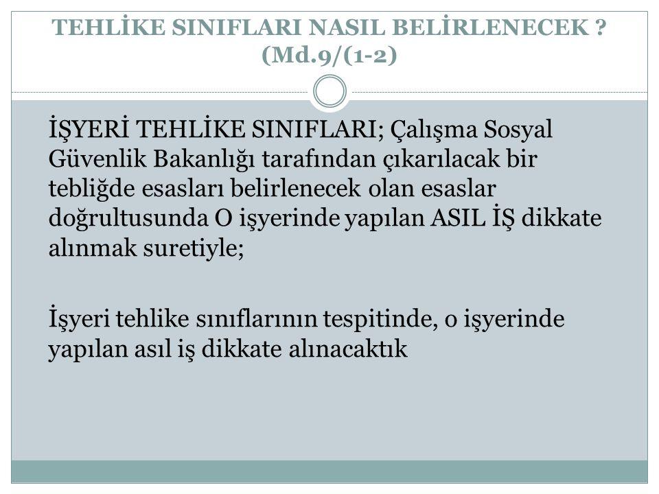 TEHLİKE SINIFLARI NASIL BELİRLENECEK (Md.9/(1-2)