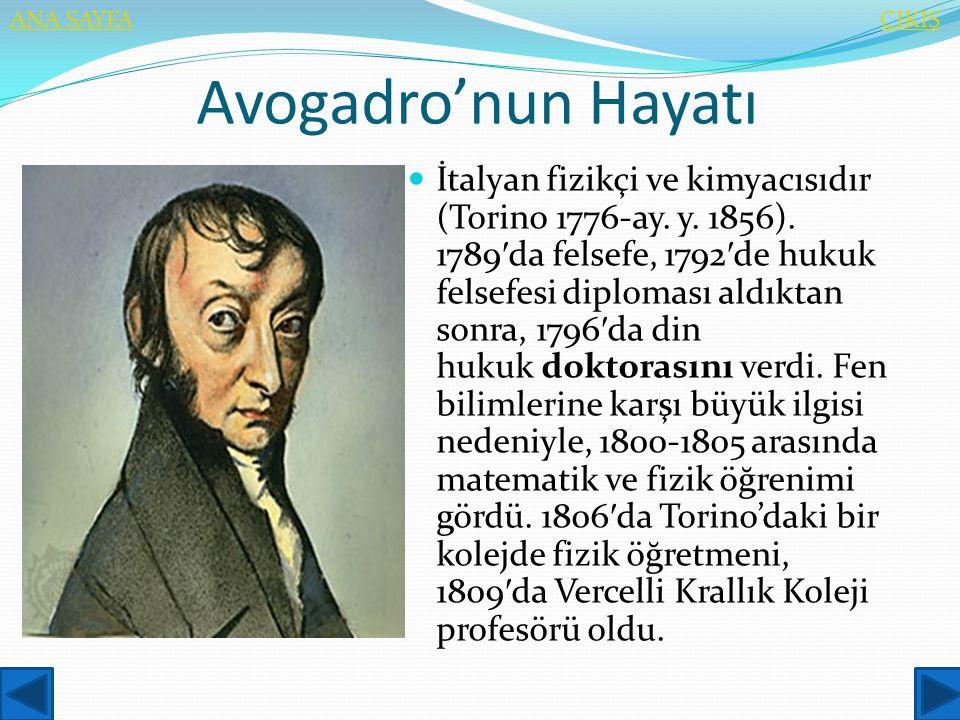 ANA SAYFA ÇIKIŞ. Avogadro'nun Hayatı.