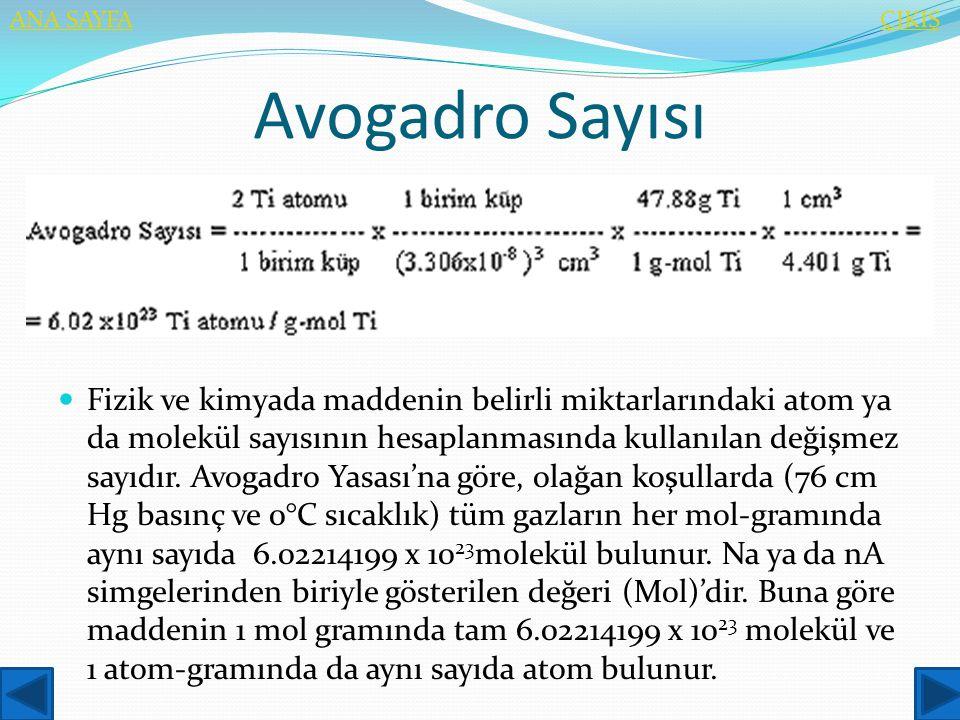 ANA SAYFA ÇIKIŞ. Avogadro Sayısı.