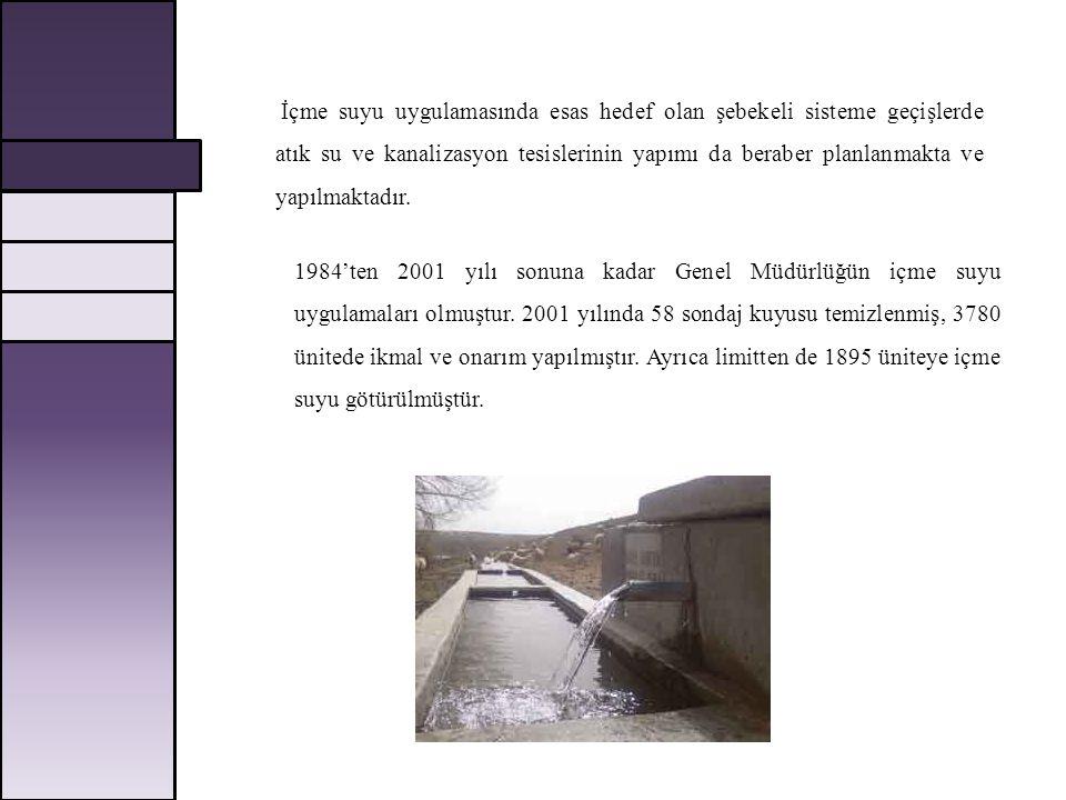 İçme suyu uygulamasında esas hedef olan şebekeli sisteme geçişlerde atık su ve kanalizasyon tesislerinin yapımı da beraber planlanmakta ve yapılmaktadır.