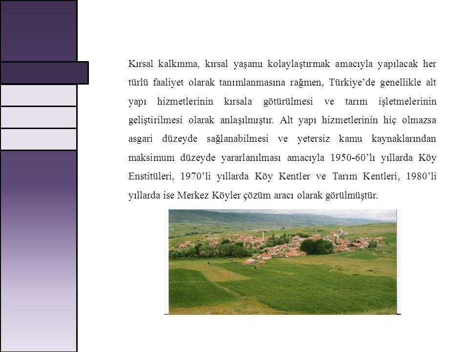 Kırsal kalkınma, kırsal yaşamı kolaylaştırmak amacıyla yapılacak her türlü faaliyet olarak tanımlanmasına rağmen, Türkiye'de genellikle alt yapı hizmetlerinin kırsala götürülmesi ve tarım işletmelerinin geliştirilmesi olarak anlaşılmıştır.