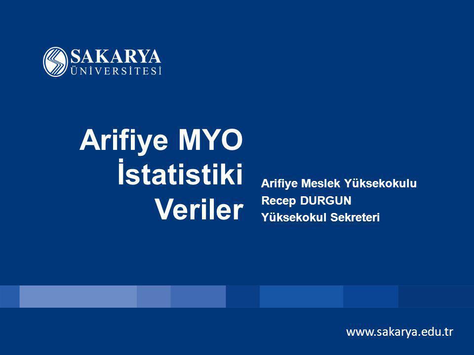 Arifiye MYO İstatistiki Veriler www.sakarya.edu.tr