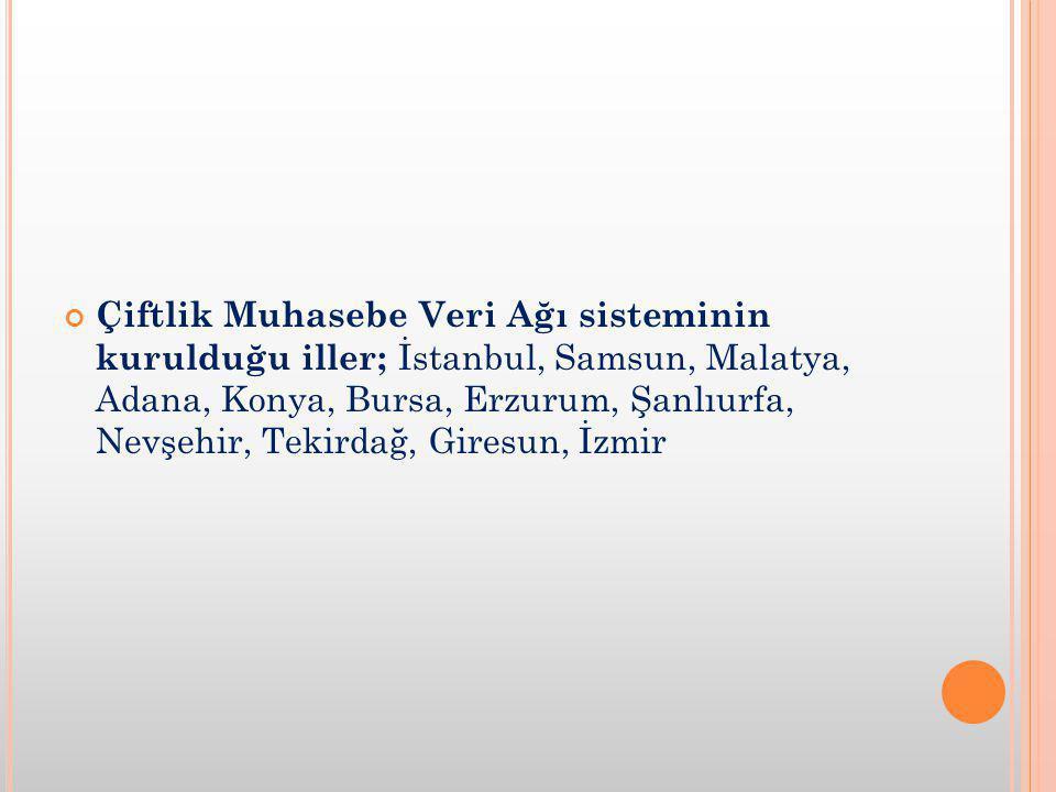 Çiftlik Muhasebe Veri Ağı sisteminin kurulduğu iller; İstanbul, Samsun, Malatya, Adana, Konya, Bursa, Erzurum, Şanlıurfa, Nevşehir, Tekirdağ, Giresun, İzmir