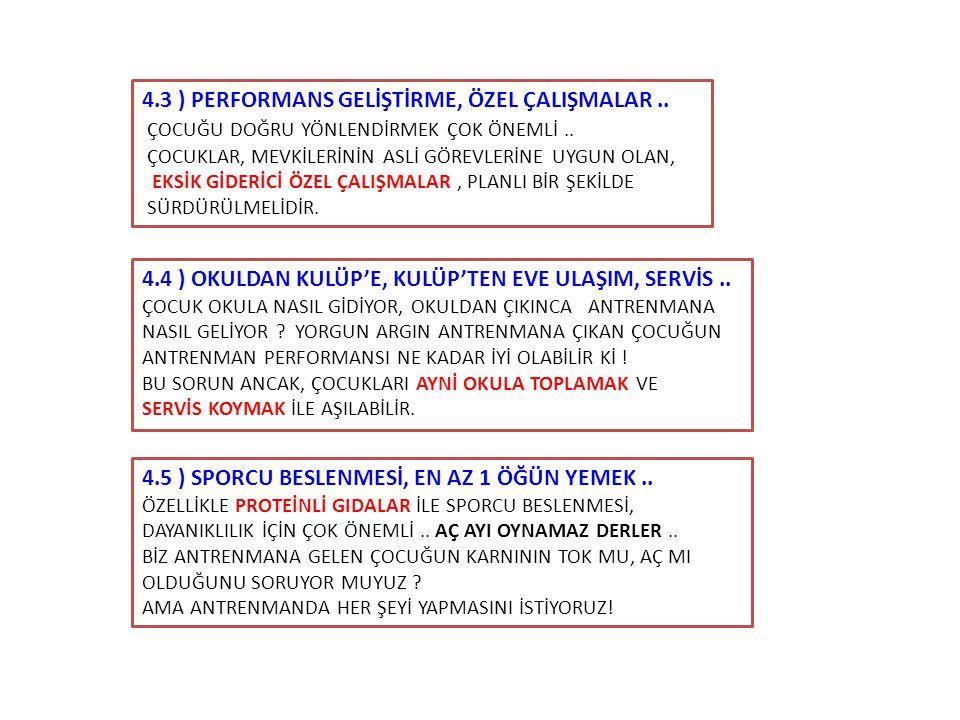 4.3 ) PERFORMANS GELİŞTİRME, ÖZEL ÇALIŞMALAR ..