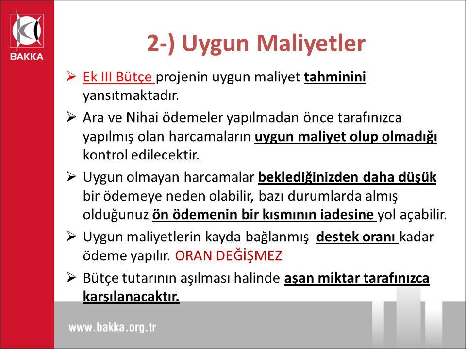 2-) Uygun Maliyetler Ek III Bütçe projenin uygun maliyet tahminini yansıtmaktadır.