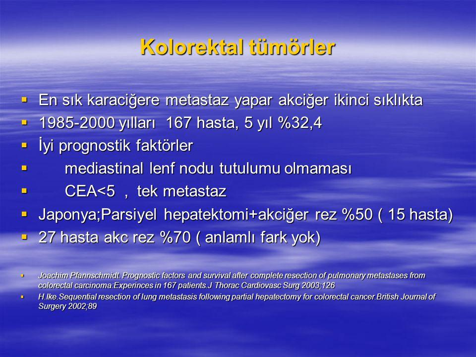 Kolorektal tümörler En sık karaciğere metastaz yapar akciğer ikinci sıklıkta. 1985-2000 yılları 167 hasta, 5 yıl %32,4.