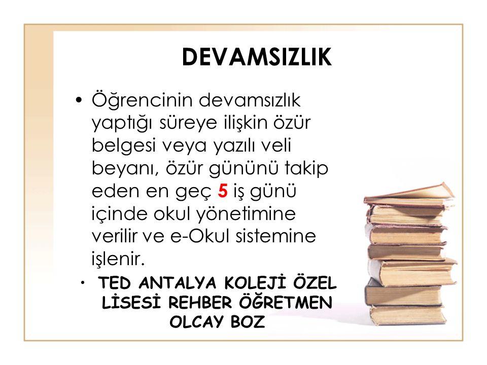 TED ANTALYA KOLEJİ ÖZEL LİSESİ REHBER ÖĞRETMEN OLCAY BOZ
