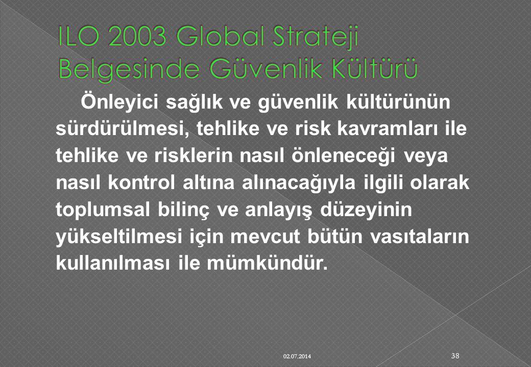 ILO 2003 Global Strateji Belgesinde Güvenlik Kültürü