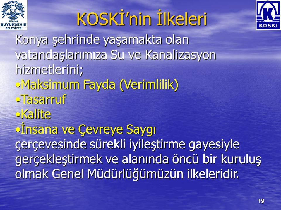 KOSKİ'nin İlkeleri Konya şehrinde yaşamakta olan vatandaşlarımıza Su ve Kanalizasyon hizmetlerini; Maksimum Fayda (Verimlilik)