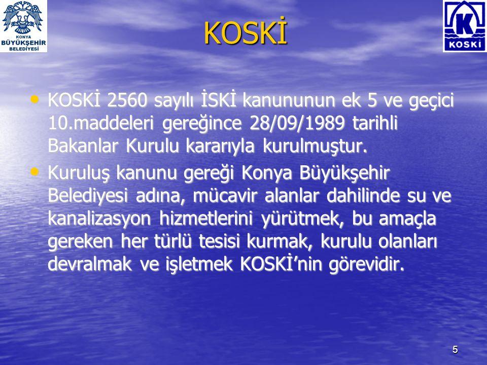 KOSKİ KOSKİ 2560 sayılı İSKİ kanununun ek 5 ve geçici 10.maddeleri gereğince 28/09/1989 tarihli Bakanlar Kurulu kararıyla kurulmuştur.