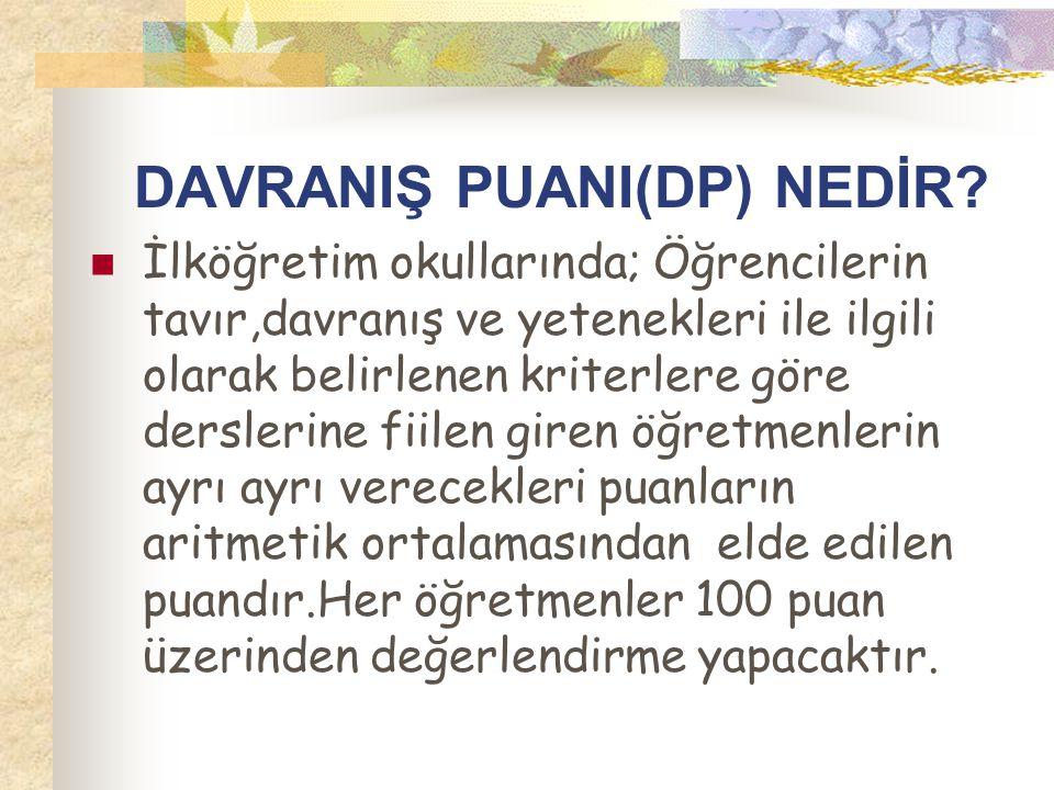 DAVRANIŞ PUANI(DP) NEDİR