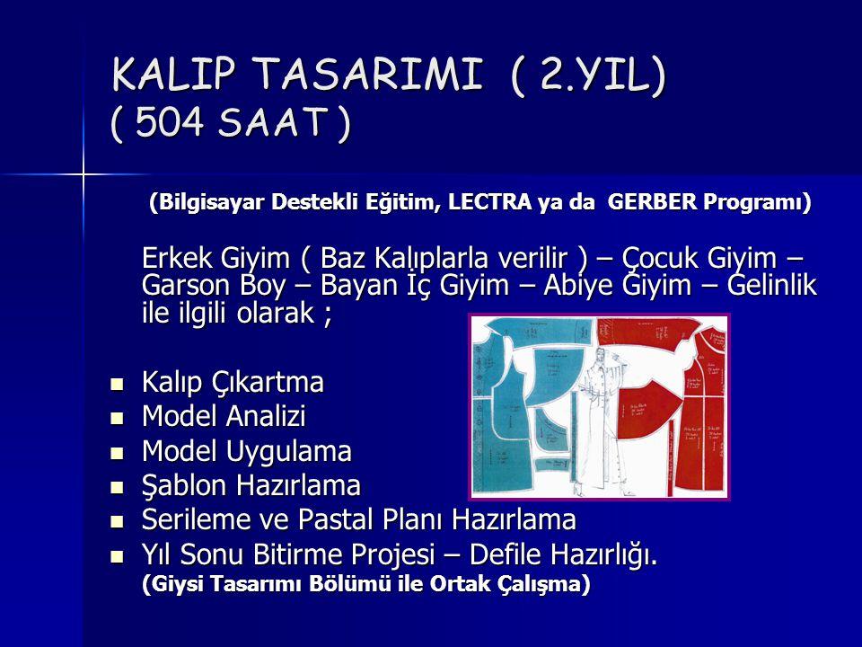 KALIP TASARIMI ( 2.YIL) ( 504 SAAT )