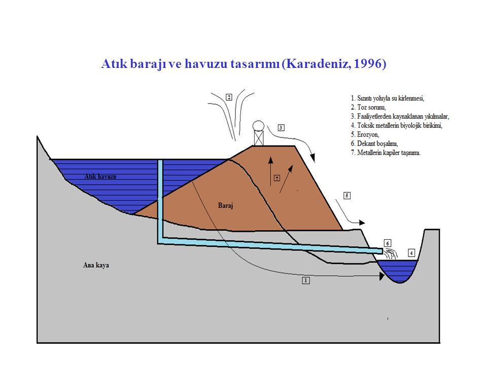 Atık barajı ve havuzu tasarımı (Karadeniz, 1996)