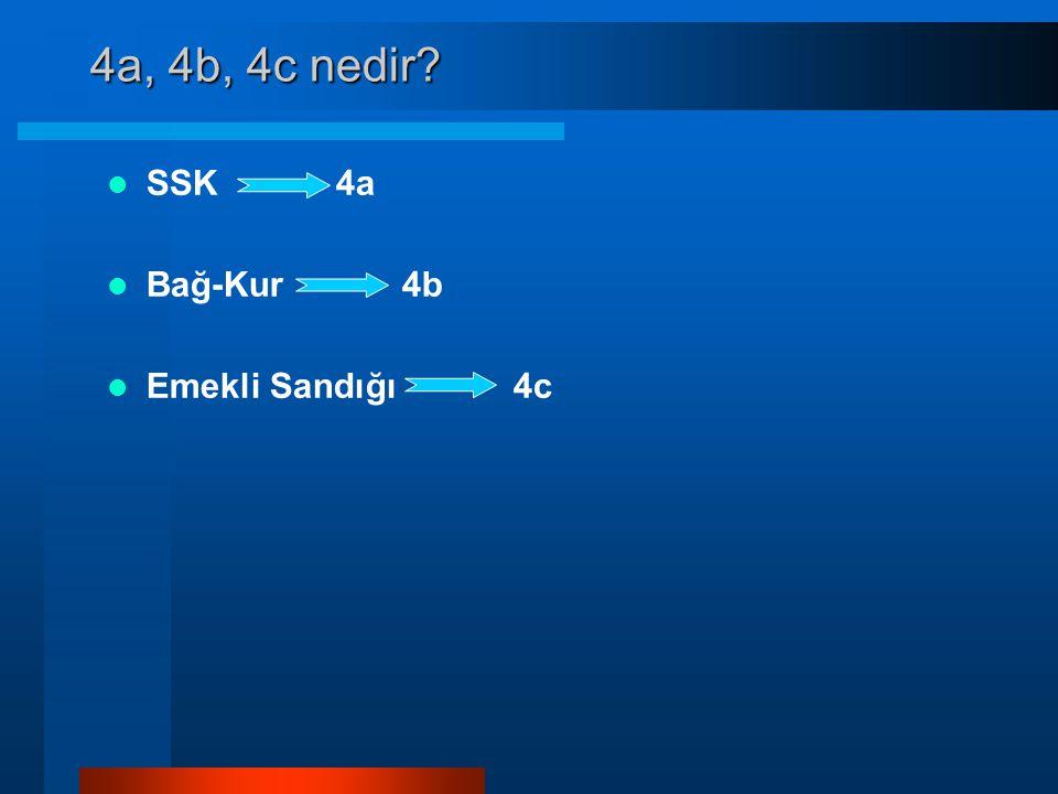4a, 4b, 4c nedir SSK 4a Bağ-Kur 4b Emekli Sandığı 4c