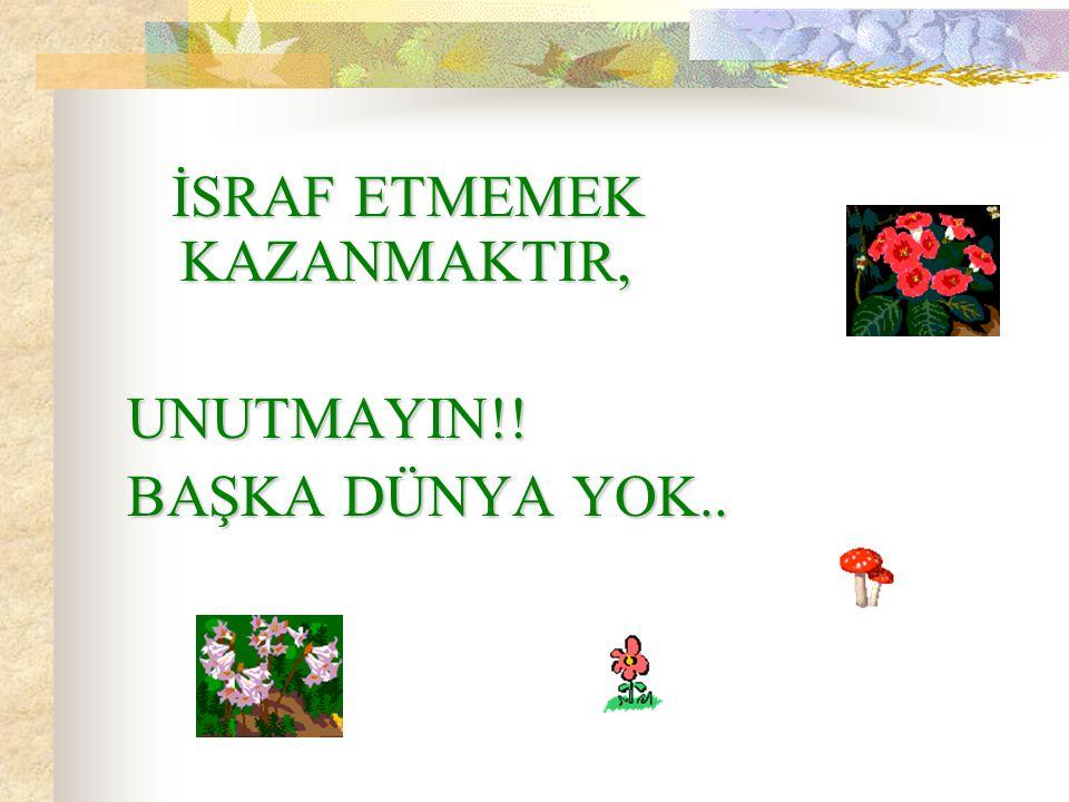 İSRAF ETMEMEK KAZANMAKTIR,