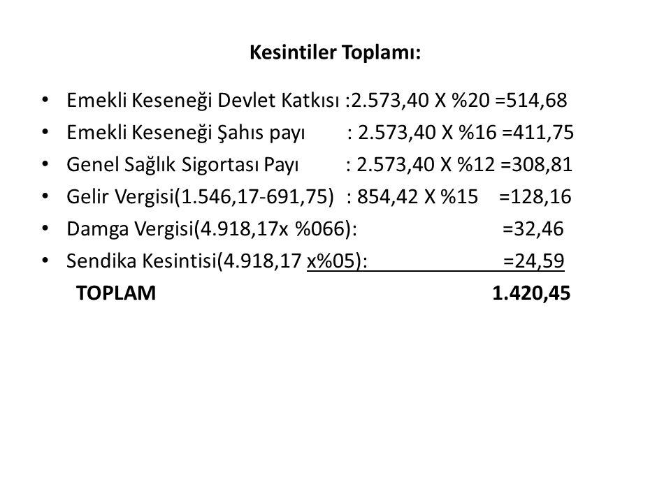 Kesintiler Toplamı: Emekli Keseneği Devlet Katkısı :2.573,40 X %20 =514,68. Emekli Keseneği Şahıs payı : 2.573,40 X %16 =411,75.