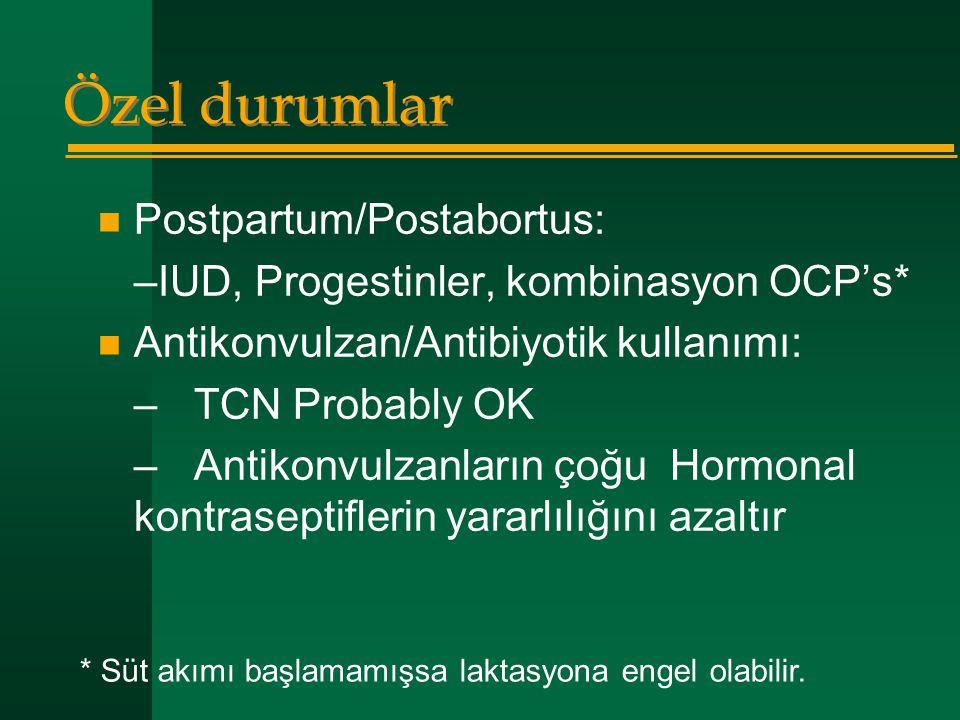 Özel durumlar Postpartum/Postabortus: