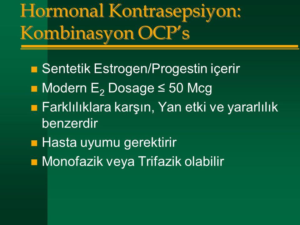 Hormonal Kontrasepsiyon: Kombinasyon OCP's