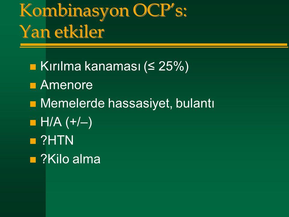 Kombinasyon OCP's: Yan etkiler