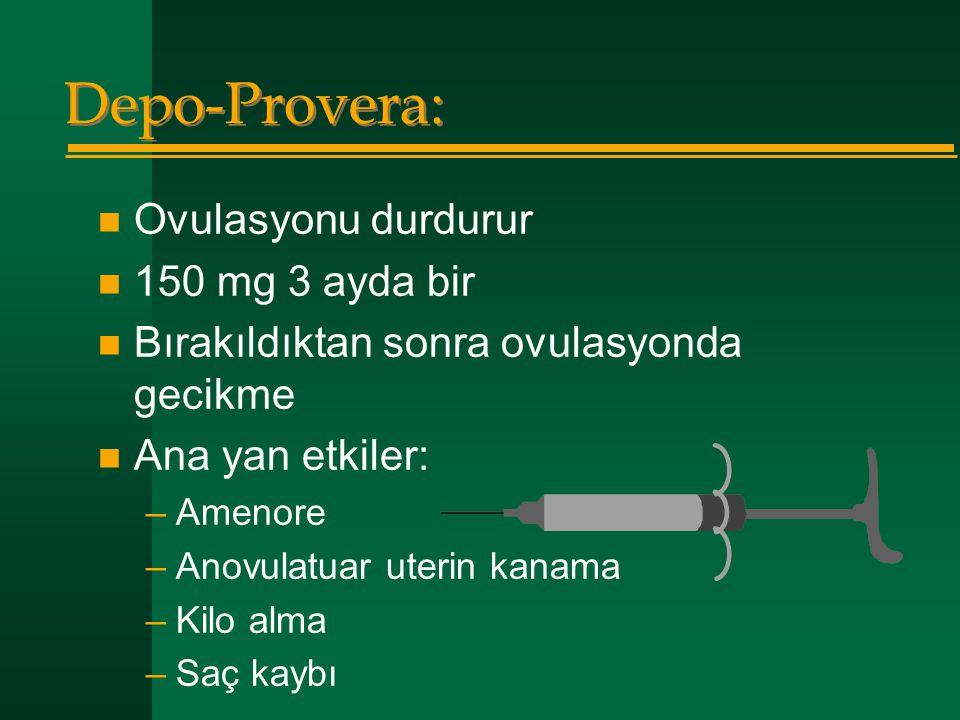 Depo-Provera: Ovulasyonu durdurur 150 mg 3 ayda bir