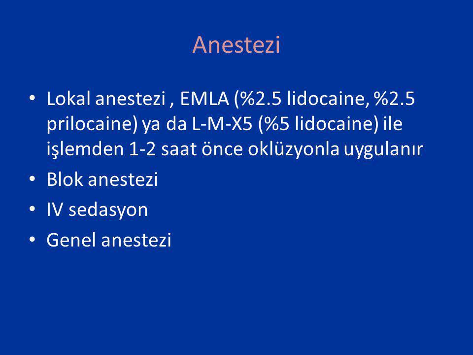Anestezi Lokal anestezi , EMLA (%2.5 lidocaine, %2.5 prilocaine) ya da L-M-X5 (%5 lidocaine) ile işlemden 1-2 saat önce oklüzyonla uygulanır.