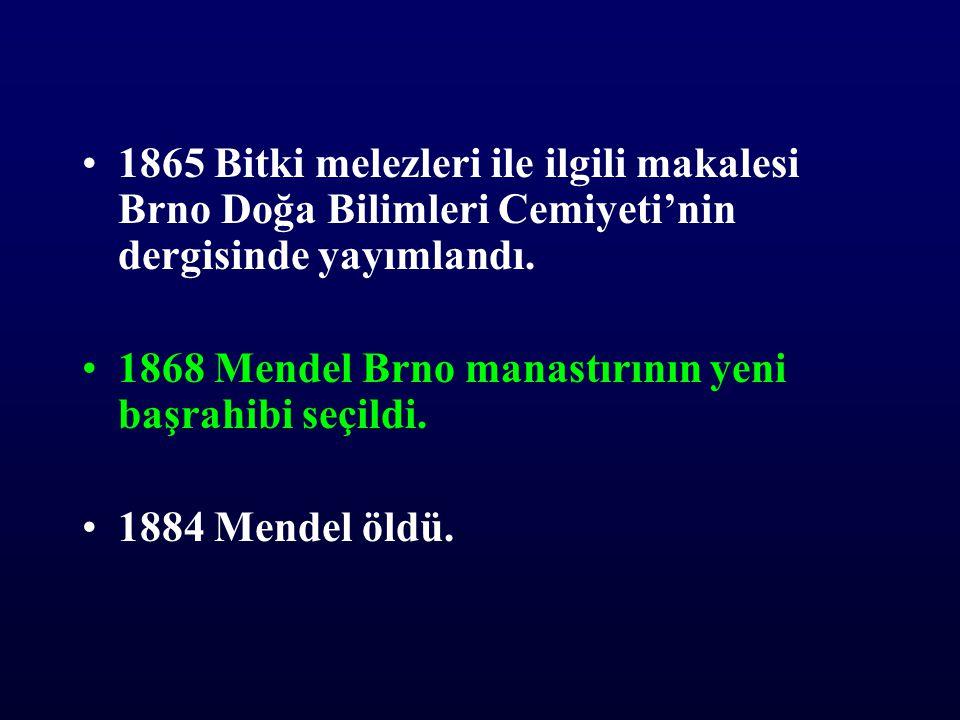 1865 Bitki melezleri ile ilgili makalesi Brno Doğa Bilimleri Cemiyeti'nin dergisinde yayımlandı.