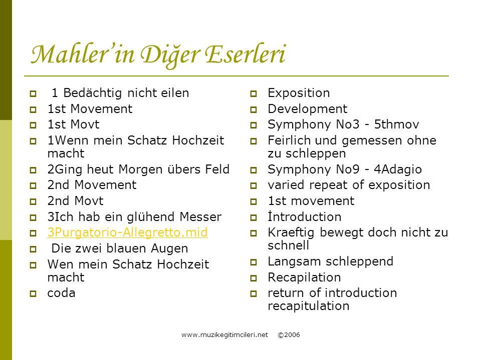 Mahler'in Diğer Eserleri