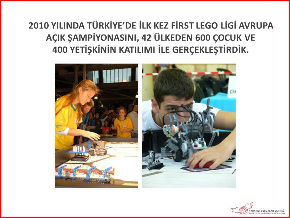 2010 YILINDA TÜRKİYE'DE İLK KEZ FİRST LEGO LİGİ AVRUPA AÇIK ŞAMPİYONASINI, 42 ÜLKEDEN 600 ÇOCUK VE 400 YETİŞKİNİN KATILIMI İLE GERÇEKLEŞTİRDİK.